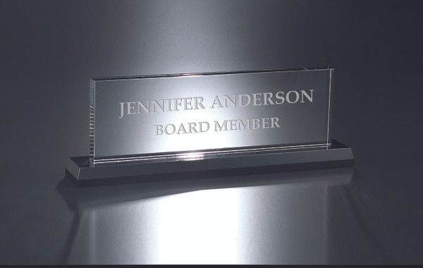 Crystal Name Plate with Black Base One of our favorite selling name plates. Name Plate Engraving - Name Plate for Desk