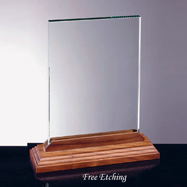 Vertical Glass Award with Walnut Base Military Awards