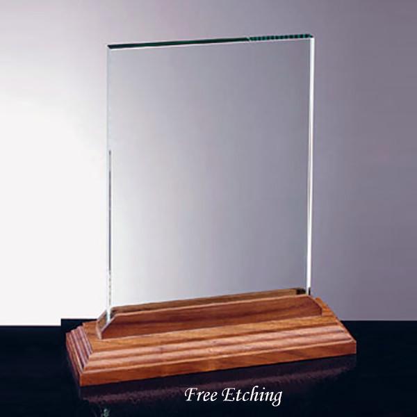 Vertical Glass Award with Walnut Base Military Awards