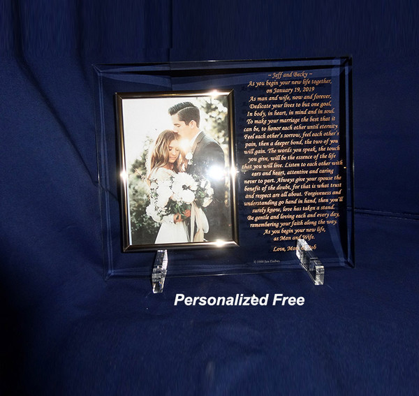 Beveled Flat Glass with Photo Frame for Anniversary Gift Anniversary Presents
