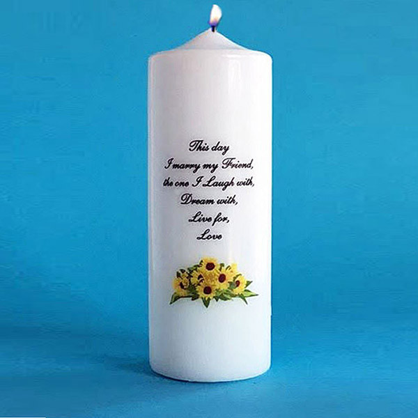 UNITY CANDLE WITH SUNFLOWER MOTIF WEDDING DAY CANDLES