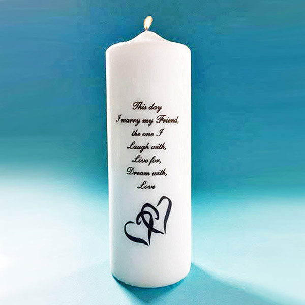 Double Heart Unity Candle Heart Candle