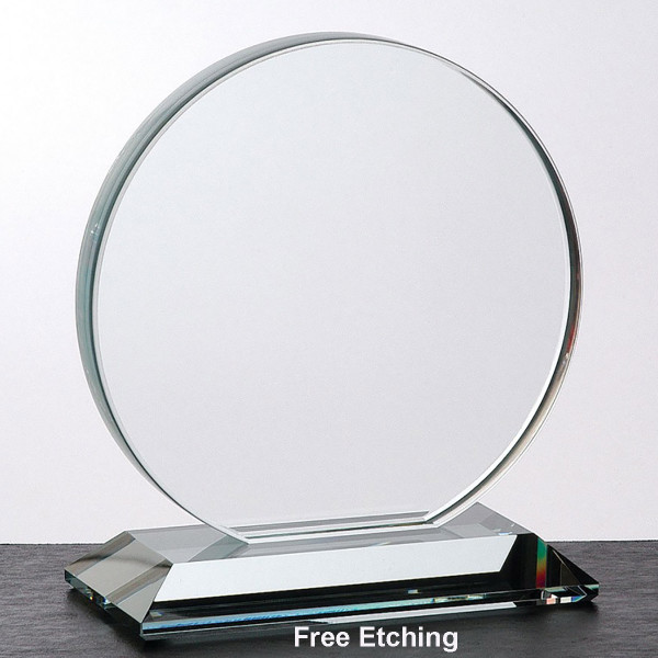 "3/4"" Crystal Clear Glass Circle Award"