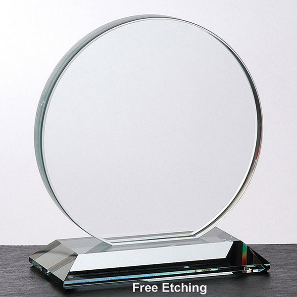 "1/2""Crystal Clear Glass Circle Award"