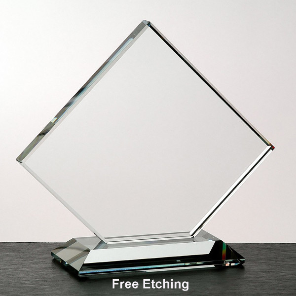 """1/2""""  Clear Clipped Square  Glass Trophies and Awards"""