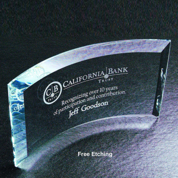 """1/2"""" Thick Beveled Crescent Curved Glass  Glass Trophies"""