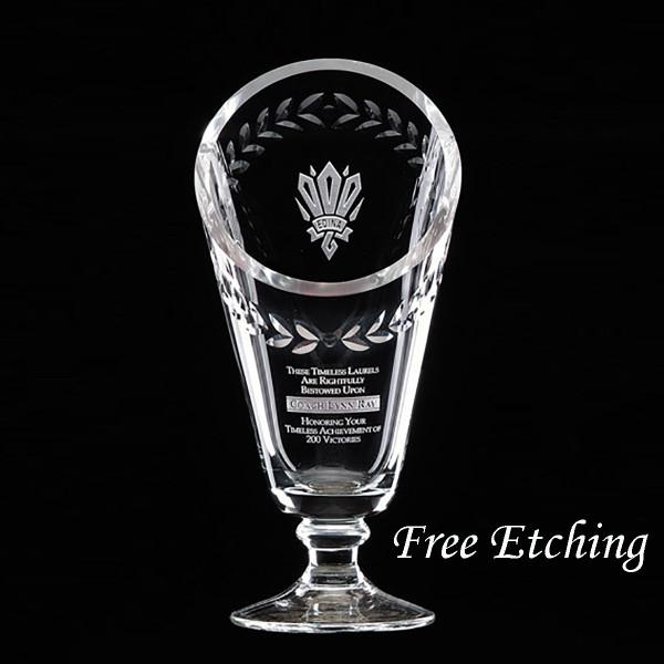 Engraved Crystal Laurel Cup Sports Trophies