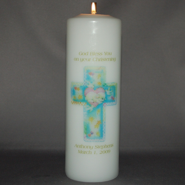 Baptism/Christening Candle with Cross First Communion Gift