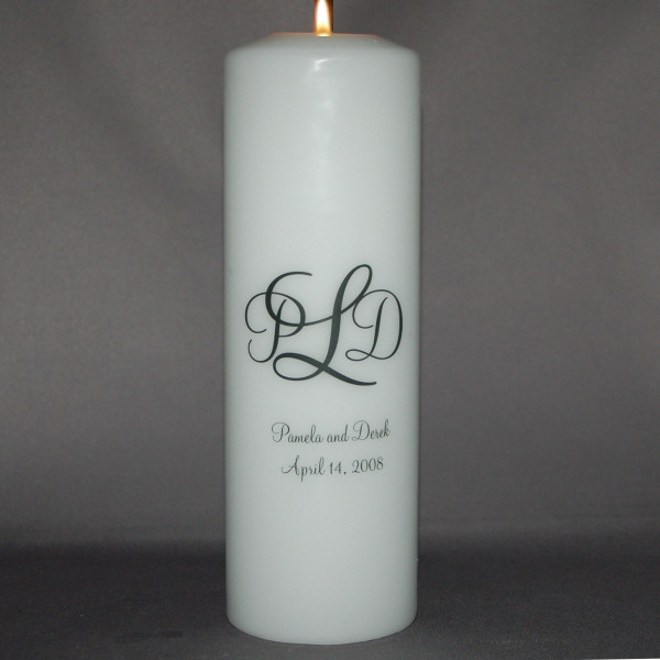 Monogrammed Unity Candle Wedding Candles Persnalized
