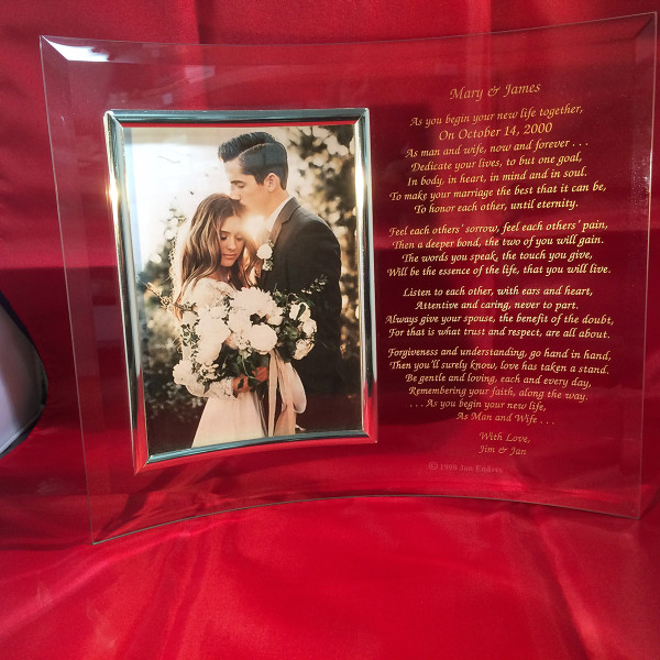 Wedding Picture Frame for a Thank You Gift to Your  Parents Gift for Parents