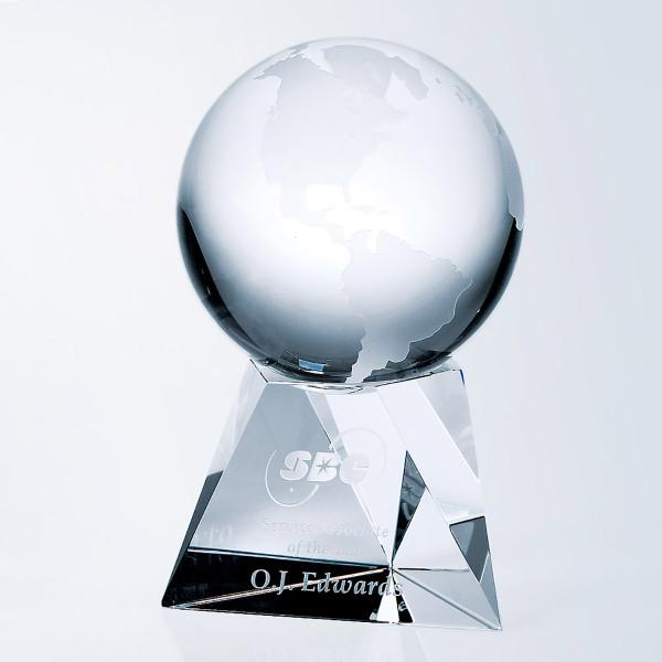 Crystal Globe on Short Base Crystal Awards Custom