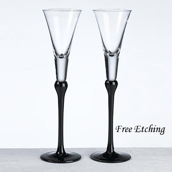 Black Stemmed Toasting Flutes Wedding Gifts