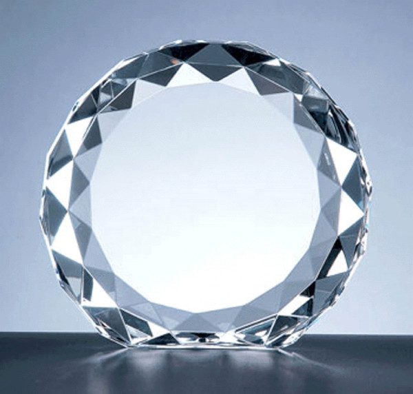 Crystal Beveled Circle Award Personalized Awards