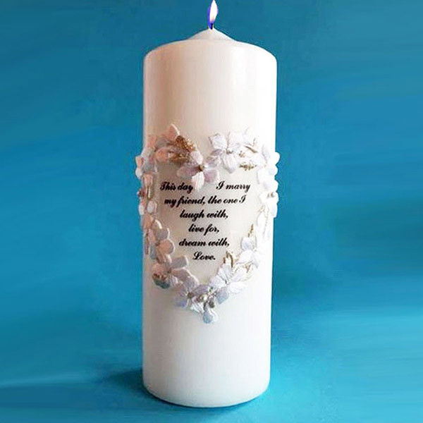 Floral Heart Candle