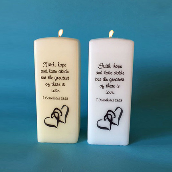 Square Candles with Verse Personalized Candles