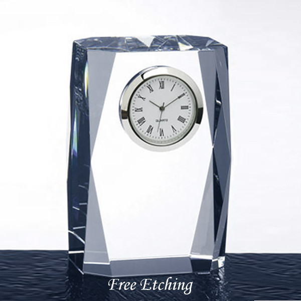 Beveled Column Crystal Desk Clock Client Gifts