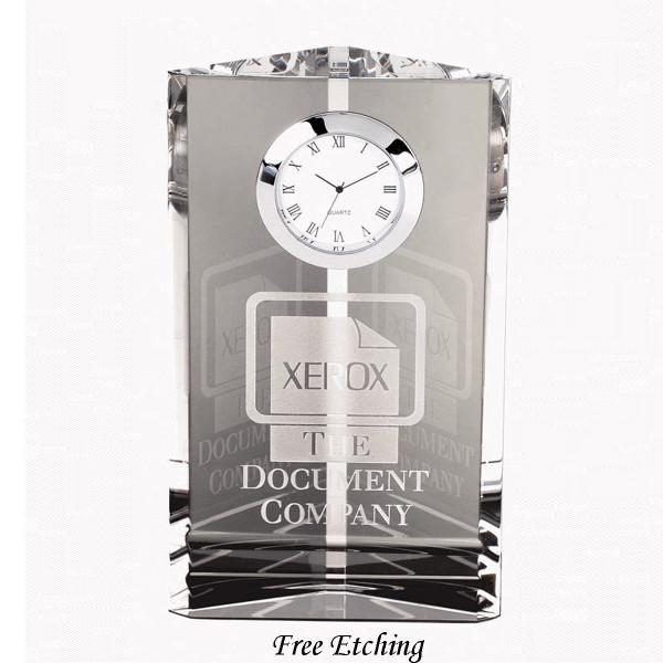 Crystal Pioneer Tower Desk Clock Business Gift