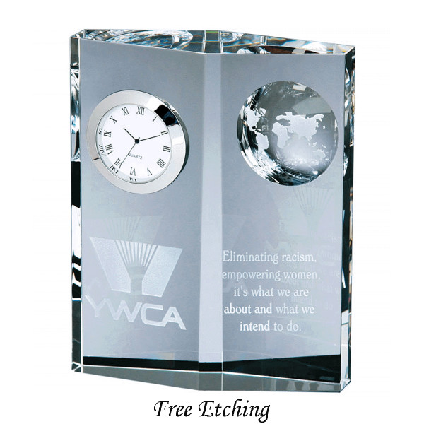 Crystal Globe Desk Clock Corporate Gift
