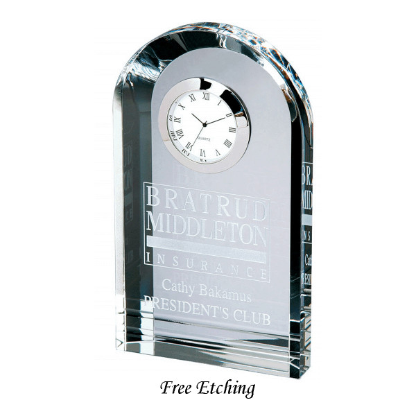 Crystal Royal Arch Tower Clock  Corporate Gift Desk Clocks