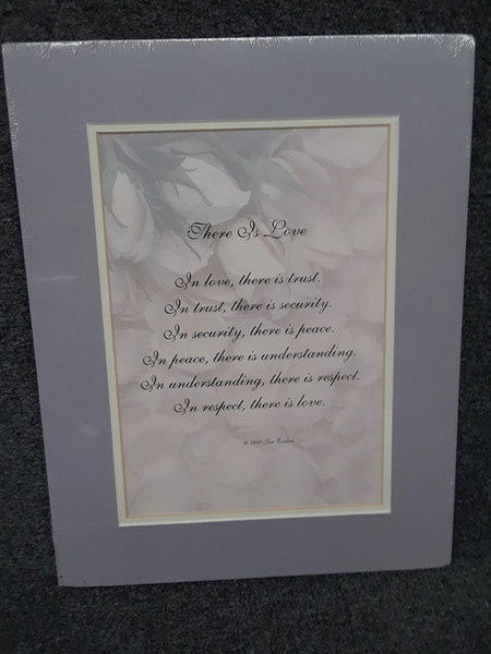 Double Matted Verse: There is Love Top Mat ( on the lilac side of purple, bottom mat, soft yellowish cream)