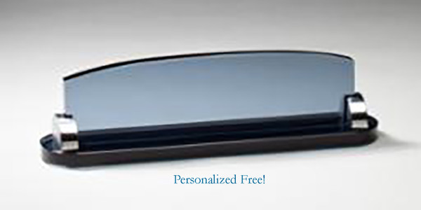 Smoked Glass Name Plate  Desk Plates for your office