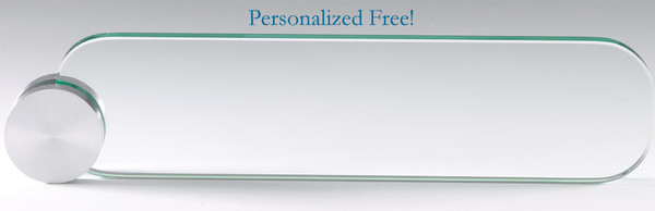 Glass Name plate with Circle Holder Desk Plate