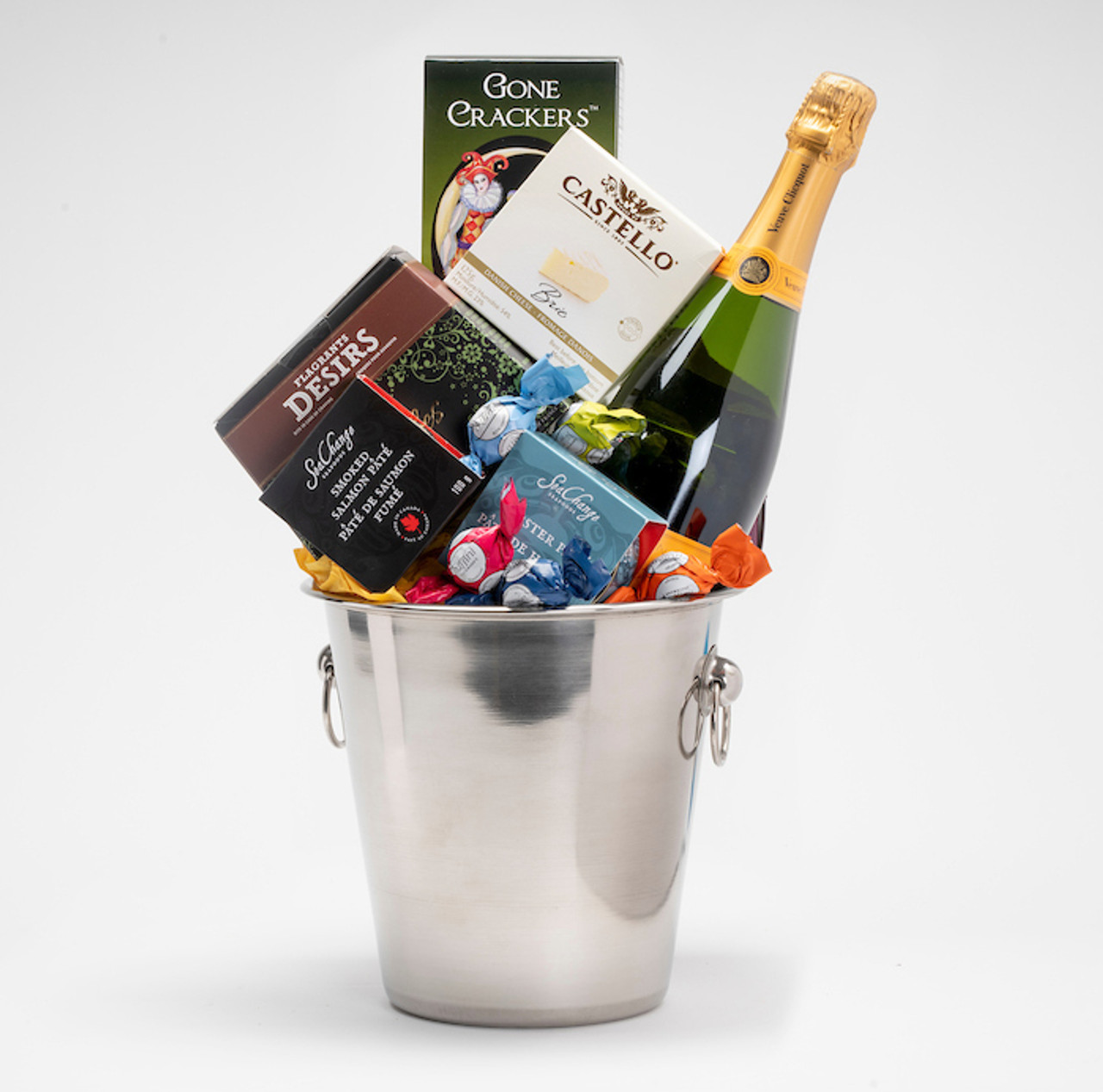 Gourmet gift basket featuring Veuve Clicquot, and sweet and savoury snacks (chocolate, crackers