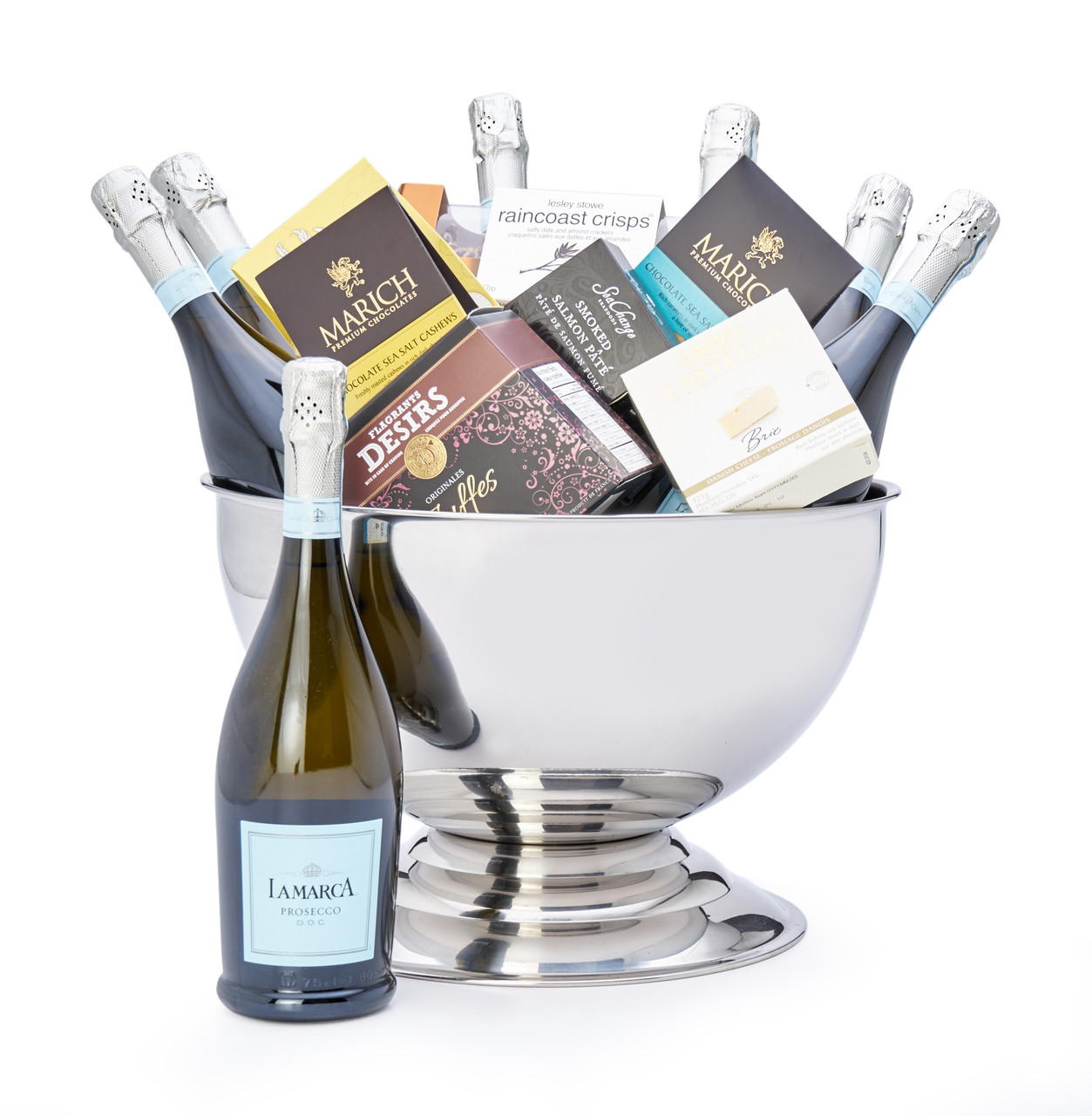 Gourmet gift basket featuring seven bottles of La Marca prosecco and sweet and savoury snacks  sc 1 st  Green u0026 Green | Gifts With Flair & Lucky Se7en | La Marca Prosecco | Champagne Gift Baskets