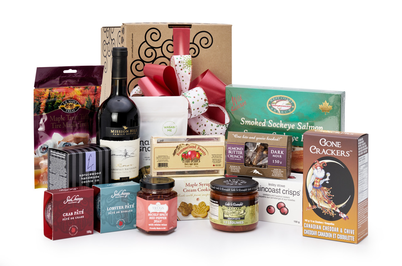 Gourmet gift basket featuring Mission Hill cabernet sauvignon, and BC local snacks (chocolate,