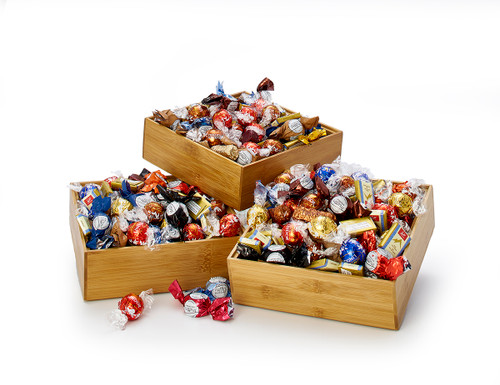 Chocolate Truffles in Stackable Bamboo Boxes - Power of 3 (Un-Stacked)