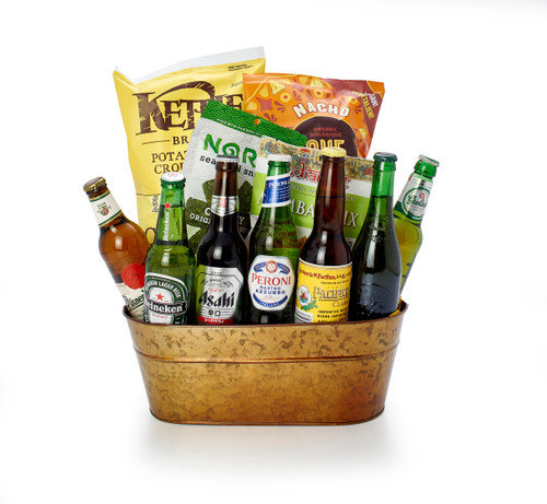 Beer basket featuring 7 imported beers and savory snacks.
