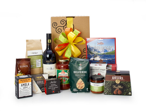 Gourmet gift basket featuring Mission Hill Family Estate Reserve Shiraz, and dinner-themed items (pasta, sauce, crackers, cheese, etc.), packaged in signature Green & Green gift box with ribbon and bow.