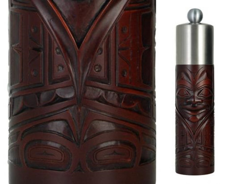 Red-brown recycled glass grinder with West Coast First Nations chieftain design.