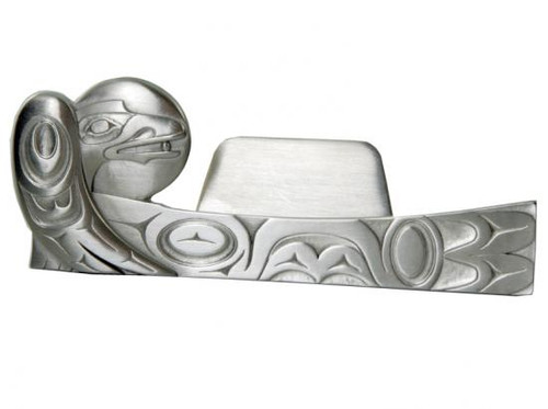 Pewter business card holder with West Coast First Nations raven design.