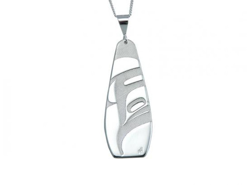 Silver pewter drop pendant, etched with a West Coast First Nations abstract design, on a sterling silver chain.
