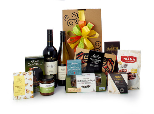 Gourmet gift basket featuring Mission Hill Family Estate Reserve Merlot, Tinhorn Creek Gewürztraminer , BC local snacks (chocolate, crackers, smoked salmon, etc.), packaged in signature Green & Green gift box with green and yellow ribbon and bow.