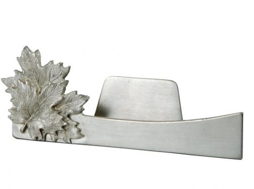 Pewter business card holder with maple leaf design.