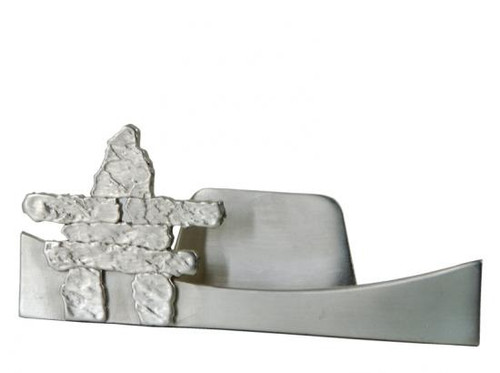 Pewter business card holder with Inuit inukshuk design.