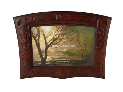 Red-brown recycled glass picture frame with West Coast First Nations design.