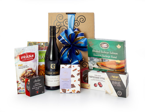 Gourmet gift basket featuring Gray Monk - Pinot Noir 2017, and BC local snacks (crackers, cheese, chocolate etc.) packaged in signature Green & Green gift box.