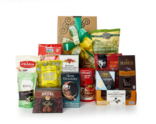 Gourmet gift basket featuring sweet and savory snacks (chocolate, cookies, chips, etc.) packaged in signature Green & Green gift box with red and gold ribbon and bow.