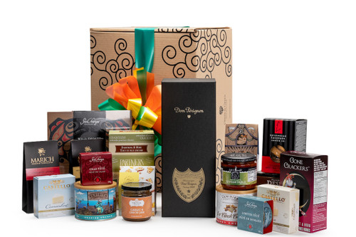 Gourmet gift basket featuring Moet & Chandon Dom Perignon champagne, and BC local snacks (chocolate, crackers, smoked salmon, etc.), packaged in signature Green & Green gift box with orange and green ribbon and bow.