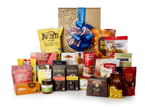 Gourmet gift basket featuring sweet and savoury snacks (chocolate, cheese, chips, antipasto, etc.) packaged in signature Green & Green gift box with red and gold ribbon and bow.
