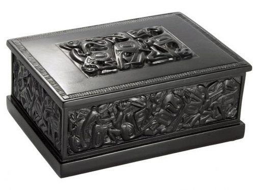 Black marble box with West Coast First Nations' design.
