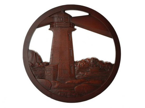 Red-brown lighthouse scene in a circular frame.