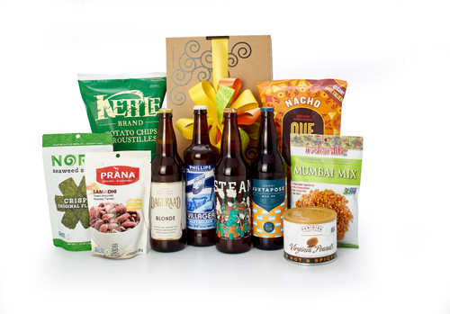 Gourmet gift basket featuring four 650mL bottles of local BC beer, and savory snacks (chips, nuts, etc.) packaged in signature Green & Green gift box with  ribbon and bow.