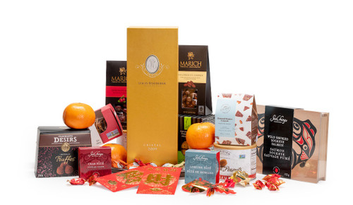 Gourmet gift basket featuring Louis Roederer Cristal champagne, sweet and savoury snacks (chocolate, crackers, nuts, etc.), mandarins, and lucky red envelopes, presented on a silver tray.