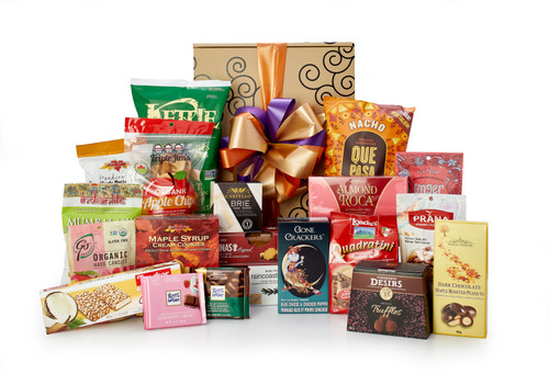 Gourmet gift basket featuring sweet and savory snacks (chocolate, cookies, crackers, nuts, etc.) packaged in signature Green & Green gift box with yellow and green ribbon and bow.