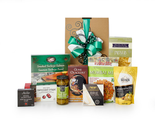 Gourmet gift basket featuring appetizers (crackers, cheese, antipasto, smoked salmon, etc.) packaged in signature Green & Green gift box with  ribbon and bow.