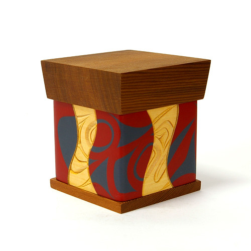 Bentwood Box - Carved and painted steam bent yellow cedar with red cedar top and bottom Design meaning:Trickster, the Transformer